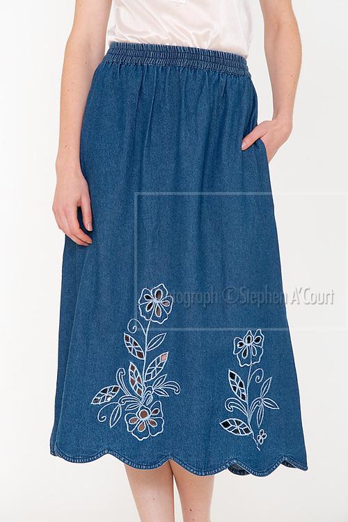 Cutwork Denim Skirt. Photo credit: Stephen A'Court.  COPYRIGHT ©Stephen A'Court