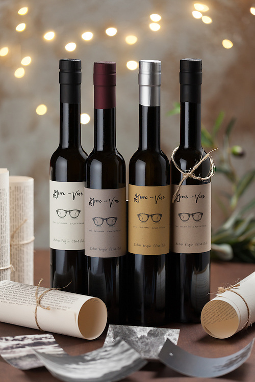 This was a recent festive shoot of all four bottles of the Grove and Vine Olive OIl collection. This will be used for editiorial during the holidays
