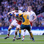 Twickenham, GREAT BRITAIN, Tom PALMER,  pushing through Mark CHISHOLM's tackle during Investic Challenge, England vs Australia, Autumn International at Twickenham Stadium, Surrey on Sat 15.11.2008 [Photo, Peter Spurrier/Intersport-images]