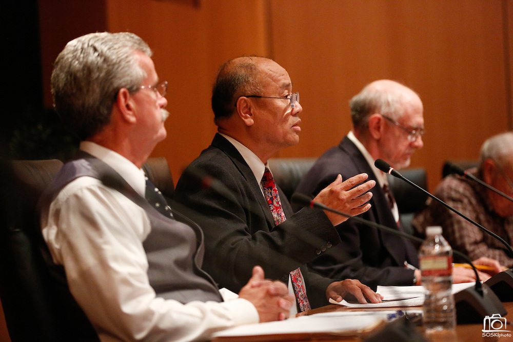 Mayor Jose Esteves talks about his accomplishments as mayor during the Milpitas City Council Forum at Milpitas City Hall in Milpitas, California, on October 9, 2014. (Stan Olszewski/SOSKIphoto)