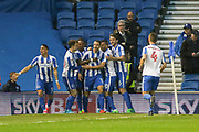 Brighton & Hove Albion centre forward Glenn Murray (17) celebrates his goal 1-0 during the EFL Sky Bet Championship match between Brighton and Hove Albion and Birmingham City at the American Express Community Stadium, Brighton and Hove, England on 4 April 2017. Photo by Phil Duncan.
