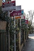 To Let and For Sale Signs outside a block of flats in Hackney.