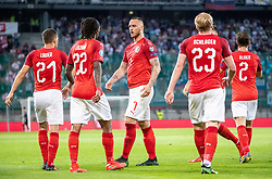 07.06.2019, Wörthersee Stadion, Klagenfurt, AUT, UEFA EM Qualifikation, Oesterreich vs Slowenien, Gruppe G, im Bild v.l. Stefan Lainer (AUT), Valentino Lazaro (AUT), Marko Arnautovic (AUT), Xaver Schlager (AUT), Andreas Ulmer (AUT) // f.l. Stefan Lainer of Austria Valentino Lazaro of Austria Marko Arnautovic of Austria Xaver hit of Austria Andreas Ulmer of Austria after the goal for the 1:0 of Guido Burgstaller (AUT) during the UEFA European Championship qualification, group G match between Austria and Slovenia at the Wörthersee Stadion in Klagenfurt, Austria on 2019/06/07. EXPA Pictures © 2019, PhotoCredit: EXPA/ Johann Groder