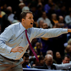 Jan 13, 2018; Baton Rouge, LA, USA; LSU Tigers head coach Will Wade against the Alabama Crimson Tide during the first half at the Pete Maravich Assembly Center. Mandatory Credit: Derick E. Hingle-USA TODAY Sports