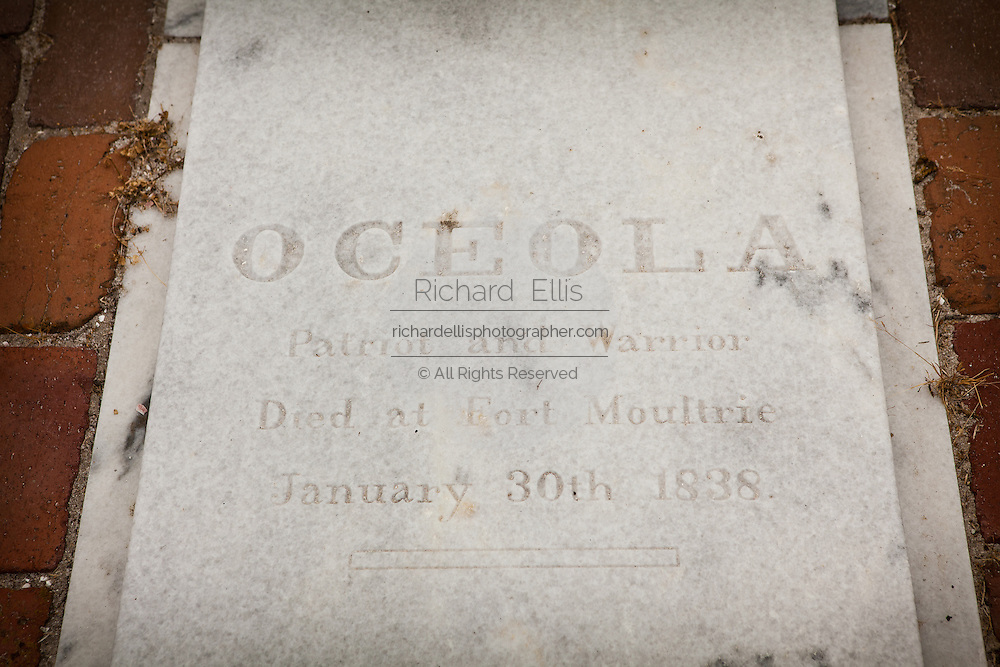 Tomb of Seminole Indian Chief Osceola in Fort Moultrie on Sullivan's Island Charleston, SC.