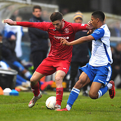 TELFORD COPYRIGHT MIKE SHERIDAN Arlen Birch during the Buildbase FA Trophy 3Q fixture between Guiseley and AFC Telford United at Nethermoor Park on Saturday, November 23, 2019.<br /> <br /> Picture credit: Mike Sheridan/Ultrapress<br /> <br /> MS201920-031