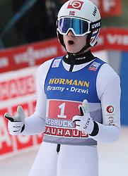 04.01.2020, Bergiselschanze, Innsbruck, AUT, FIS Weltcup Skisprung, Vierschanzentournee, Innsbruck, Wertungsdurchgang, im Bild Marius Lindvik freut sich über seinen 2. Sieg bei der Vierschanzen Tourneee // during his Competition Jump for the Four Hills Tournament of FIS Ski Jumping World Cup at Bergiselschanze in Innsbruck, Austria on 2020/01/04. EXPA Pictures © 2020, PhotoCredit: EXPA/ SM<br /> <br /> *****ATTENTION - OUT of GER*****