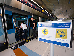 Gold Class sign at station on Dubai Metro system United Arab Emirates