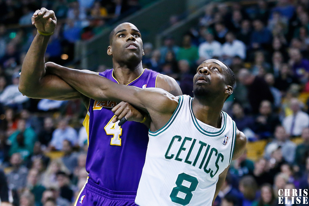 07 February 2013: Boston Celtics power forward Jeff Green (8) vies for the rebound with Los Angeles Lakers power forward Antawn Jamison (4) during the Boston Celtics 116-95 victory over the Los Angeles Lakers at the TD Garden, Boston, Massachusetts, USA.