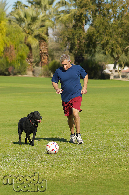 Senior man kicking soccer ball with dog in park