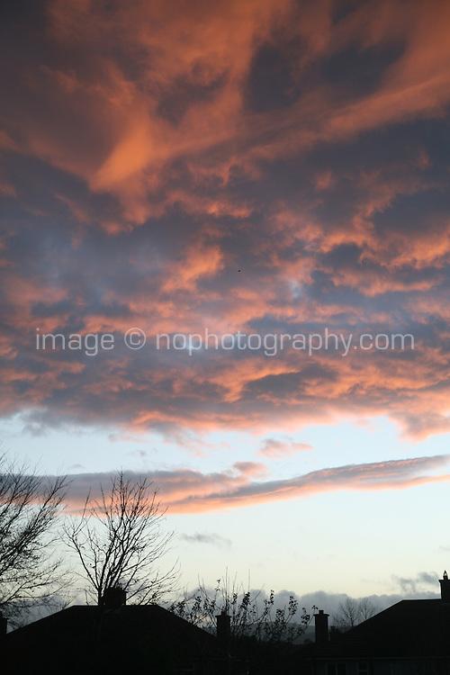 Sunset evening sky over urban Dublin Ireland