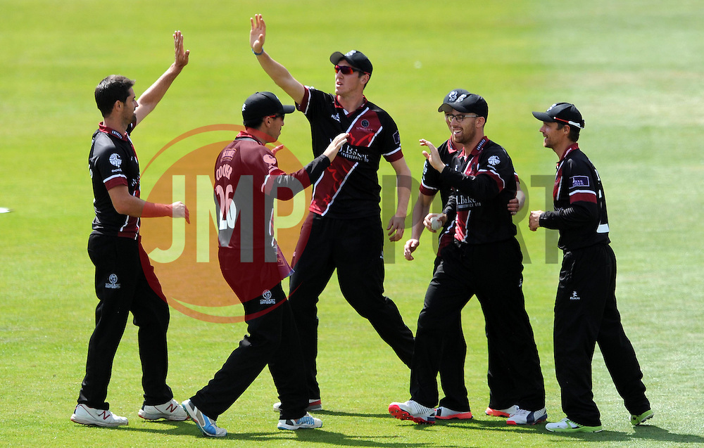 Somerset's Tim Groenewald and James Hildreth celebrate the wicket of Worcestershire's Tom Fell - Photo mandatory by-line: Harry Trump/JMP - Mobile: 07966 386802 - 31/07/15 - SPORT - CRICKET - Somerset v Worcestershire- Royal London One Day Cup - The County Ground, Taunton, England.