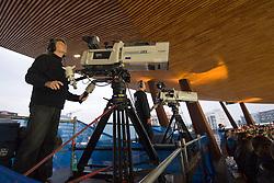 30.08.2012, Stadion Letzigrund, Zuerich, SUI, Leichtathletik, Weltklasse Zurich 2012, im Bild, Feature Kameramann SF // during Athletics World Class Zurich 2012 at Letzigrund Stadium, Zurich, Switzerland on 2012/08/30. EXPA Pictures © 2012, PhotoCredit: EXPA/ Freshfocus/ Andy Mueller..***** ATTENTION - for AUT, SLO, CRO, SRB, BIH only *****