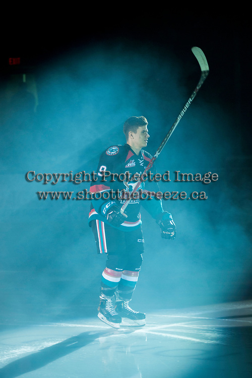 KELOWNA, CANADA - SEPTEMBER 22: Marek Skvrne #9 of the Kelowna Rockets enters the ice for home opener against the Kamloops Blazers on September 22, 2017 at Prospera Place in Kelowna, British Columbia, Canada.  (Photo by Marissa Baecker/Shoot the Breeze)  *** Local Caption ***