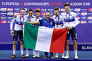 Podium, Flag, Gold Medal, Men Team Pursuit, Italy, Elia Viviani, Francesco Lamon, Filippo Ganna, Michele Scartezzini, Liam Bertazzo, with his coach Marco Villa during the UEC Track Cycling European Championships Glasgow 2018, at Sir Chris Hoy Velodrome, in Glasgow, Great Britain, Day 2, on August 3, 2018 - Photo Luca Bettini / BettiniPhoto / ProSportsImages / DPPI - Belgium out, Spain out, Italy out, Netherlands out -