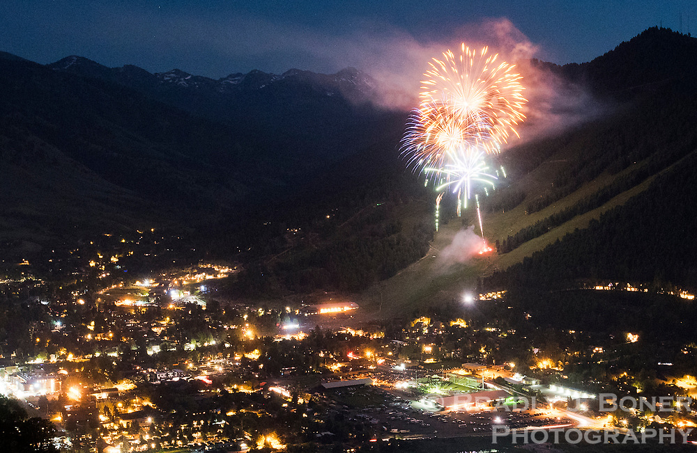 Fireworks explode over Snow King Mountain during the annual July 4th display Tuesday night. See page XX for more coverage of Jackson's Independence Day celebrations.