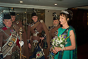 IONA, DUCHESS OF ARGYLL AND MEMBERS OF LONDON SCOTTISH RIGEIMNT PIPES AND DRUMS. , The Royal Caledonian Ball 2008. In aid of the Royal Caledonian Ball Trust. Grosvenor House. London. 2 May 2008.  *** Local Caption *** -DO NOT ARCHIVE-© Copyright Photograph by Dafydd Jones. 248 Clapham Rd. London SW9 0PZ. Tel 0207 820 0771. www.dafjones.com.