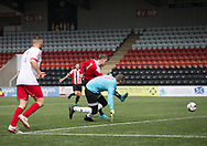 Owen Neave fires home Argyle's second goal - Dundee Argyle v Dykehead AFC in the Scottish Sunday Trophy semi final at Excelsior Stadium, Airdrie, Photo: David Young<br /> <br />  - &copy; David Young - www.davidyoungphoto.co.uk - email: davidyoungphoto@gmail.com