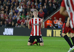 Matt Targett of Southampton reacts after missing a  goal scoring opportunity - Mandatory byline: Paul Terry/JMP - 07966386802 - 20/08/2015 - FOOTBALL - ST Marys Stadium -Southampton,England - Southampton v FC Midtjylland - EUROPA League Play-Off Round