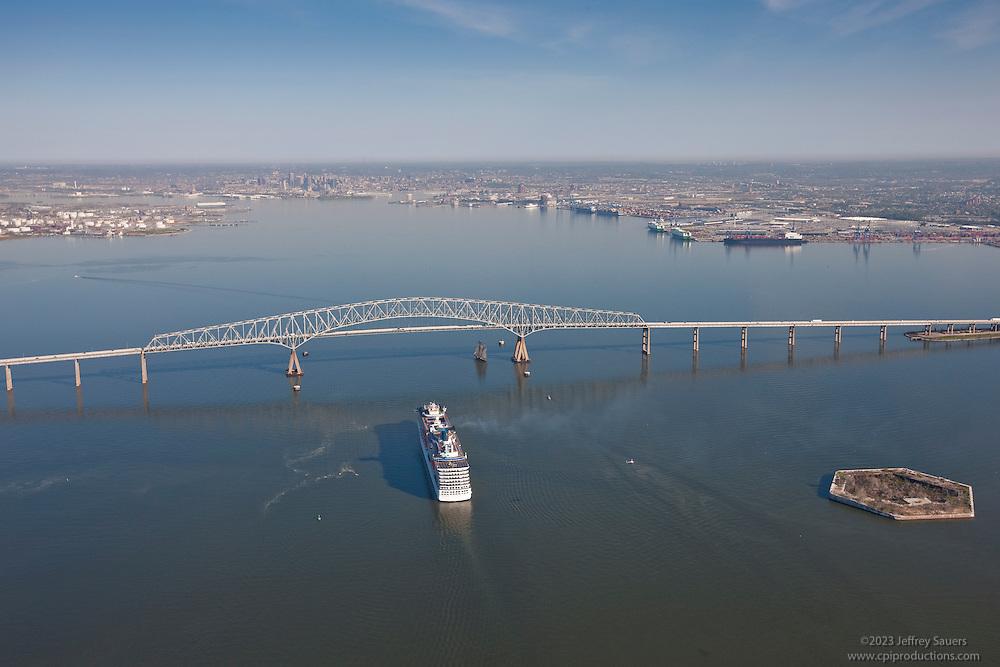 Aerial photo of Carnival Pride sailing to Francis Scott Key Bridge in Baltimore Maryland