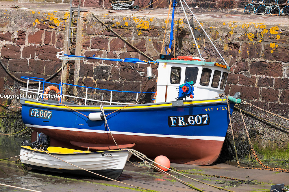 small fishing boat in harbour at Pennan in Aberdeenshire Scotland