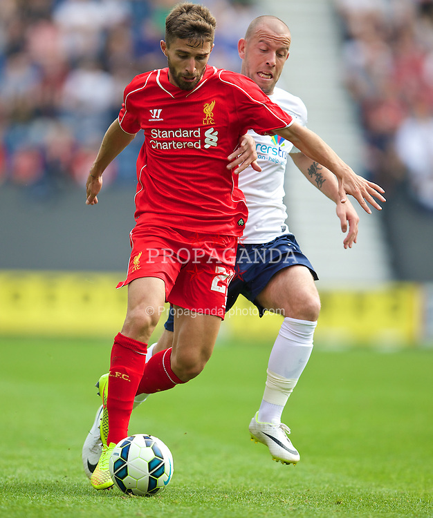 PRESTON, ENGLAND - Saturday, July 19, 2014: Liverpool's Fabio Borini in action against Preston North End during a preseason friendly match at Deepdale Stadium. (Pic by David Rawcliffe/Propaganda)