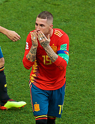 MOSCOW, RUSSIA - Sunday, July 1, 2018: Spain's Sergio Ramos blows a kiss as he celebrates as if he had scored the first goal, which was an own-goal, during the FIFA World Cup Russia 2018 Round of 16 match between Spain and Russia at the Luzhniki Stadium. (Pic by David Rawcliffe/Propaganda)