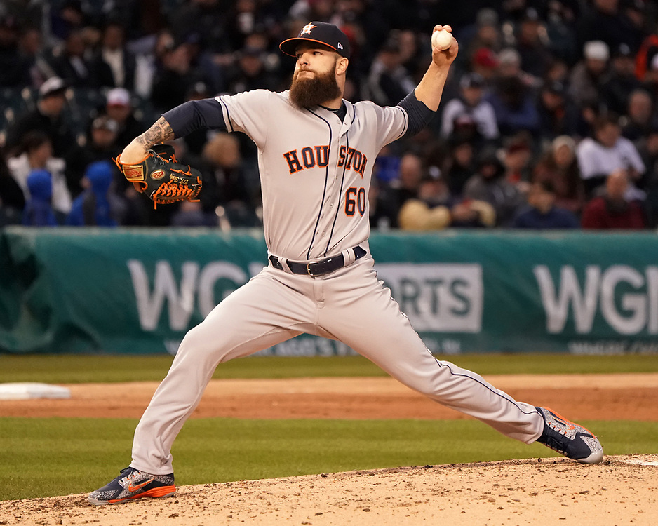 CHICAGO - April 21:  Dallas Keuchel #60 of the Houston Astros pitches against the Chicago White Sox on April 21, 2018 at Guaranteed Rate Field in Chicago, Illinois.  (Photo by Ron Vesely)   Subject:   Dallas Keuchel