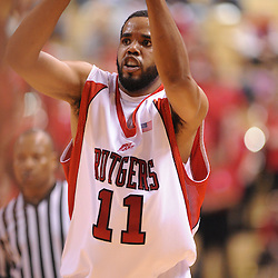 Jan 31, 2009; Piscataway, NJ, USA; Rutgers guard/forward Earl Pettis (11) makes a pass during the second half of Rutgers' 75-56 victory over DePaul in NCAA college basketball at the Louis Brown Athletic Center