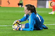Laura O'Sullivan (1) of Wales grabs the ball during the FIFA Women's World Cup UEFA Qualifier match between England Ladies and Wales Women at the St Mary's Stadium, Southampton, England on 6 April 2018. Picture by Graham Hunt.
