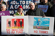 On the day that Prime Minister Theresa May petitions her cabinet on the current negotiations to leave the EU, Brexiteers opposite Downing Street in Whitehall, protest that Leave Means Leave, on 14th November 2018, in London, England.