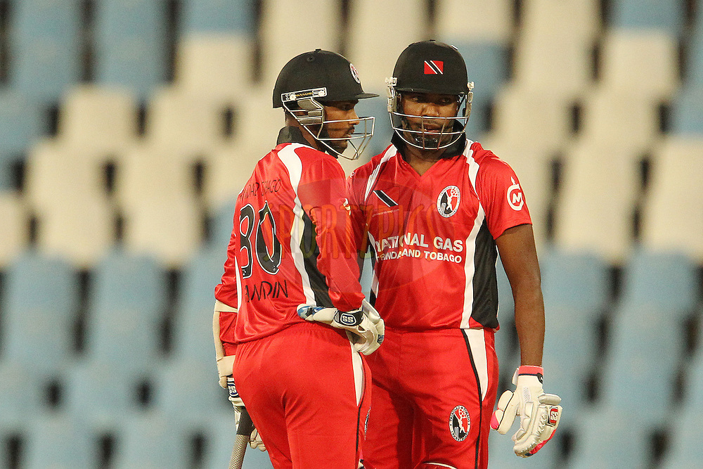 Denesh Ramdin and Dwayne Bravo during the 4th Qualifying match of the Karbonn Smart CLT20 South Africa between Trinidad & Tobago and Uva Next held at Supersport Park Stadium in Centurion, South Africa on the 10th October 2012..Photo by Ron Gaunt/SPORTZPICS/CLT20