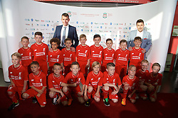 LIVERPOOL, ENGLAND - Tuesday, May 19, 2015: Liverpool under-9's arrive on the red carpet for the Liverpool FC Players' Awards Dinner 2015 at the Liverpool Arena. (Pic by David Rawcliffe/Propaganda)