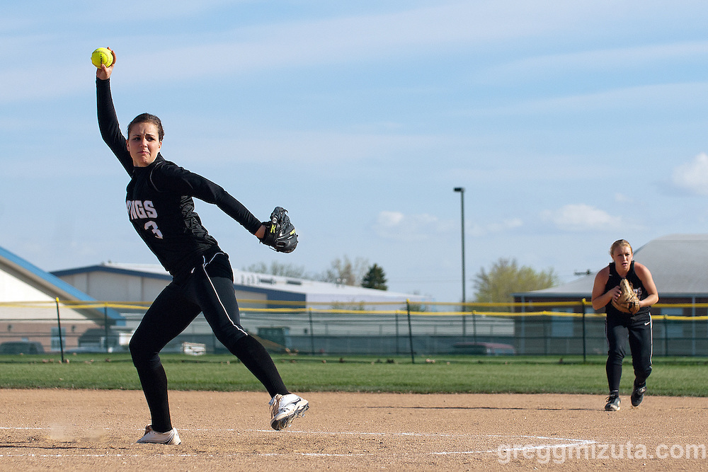 Vale's Kelsey Hawley pitches during the Vale Parma softball game, April 15, 2014 at Parma, Idaho. Hawley pitched a complete game in Vale's 18-4 win.