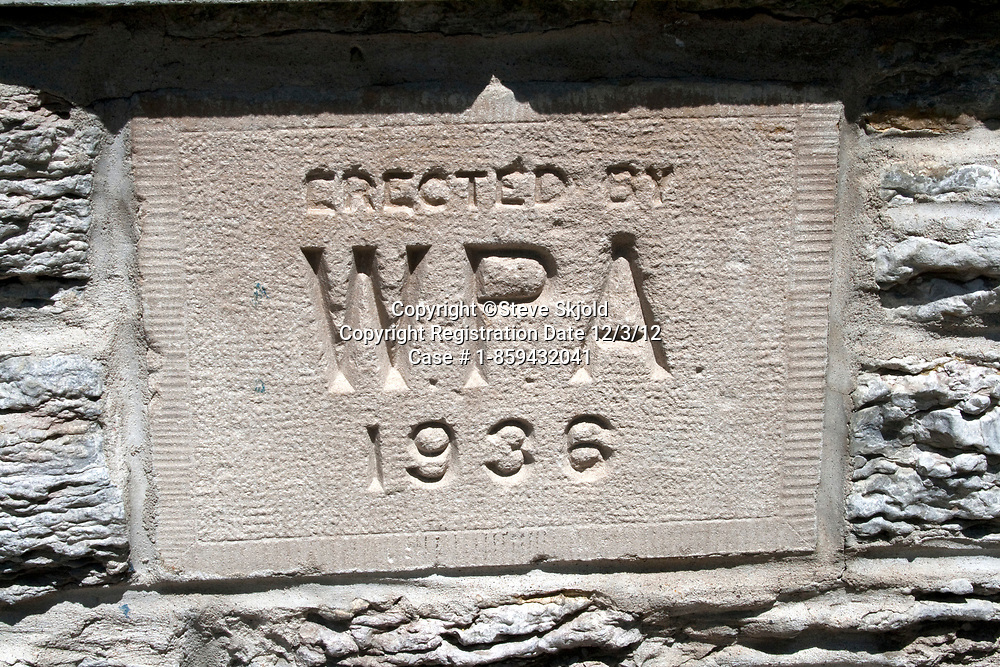 WPA Works Project Administration 1936 sign on brick wall outside of Horace Mann Elementary School. St Paul Minnesota MN USA