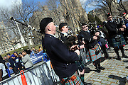Members of the New York Metro Pipe & Drum Band perform during the 12th annual Scotland Run in New York's Central Park to  kick off Scotland Week festivities, Saturday, April 4, 2015.  (Photo by Diane Bondareff/Invision for Scottish Government/AP Images)