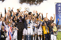 during the 2012 Major League Soccer Championship match between the Houston Dynamo and the Los Angeles Galaxy at the Home Depot Center in Carson, California.  The Galaxy defeated the Dynamo 3-1 to capture their second straight MLS Cup title.
