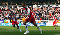 Photo: Kevin Poolman.<br />Wolverhampton Wanderers v Southampton. Coca Cola Championship. 31/03/2007. Leon Best (middle) of Southampton celebrates his goal and their fourth with Nathan Dyer (No.18).