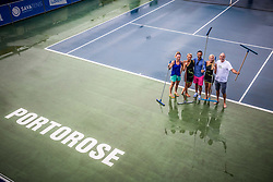 Workers drying the court after storm during ATP Challenger Zavarovalnica Sava Slovenia Open 2017, on August 10, 2017 in Sports centre, Portoroz/Portorose, Slovenia. Photo by Vid Ponikvar / Sportida