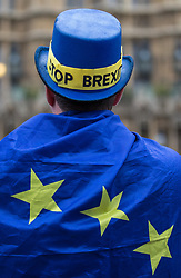 © Licensed to London News Pictures. 14/11/2017. London, UK. A man wears a hat reading 'STOP BREXIT' as anti-Brexit protesters demonstrate outside Parliament as MPs debate the European Union (Withdrawal) Bill. Photo credit: Rob Pinney/LNP
