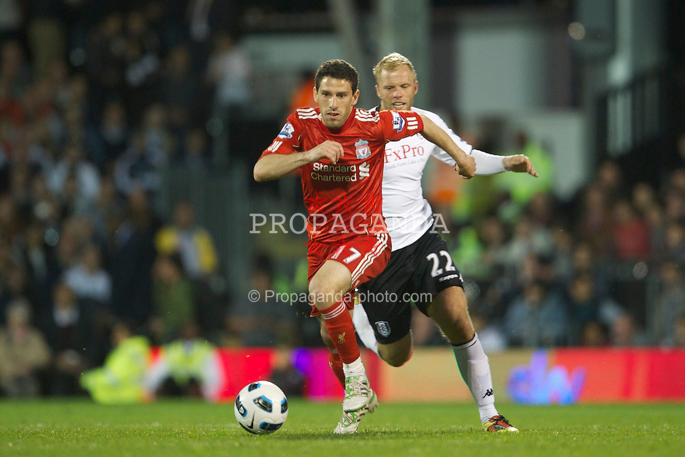 LONDON, ENGLAND - Monday, May 9, 2011: Liverpool's Maximiliano Ruben Maxi Rodriguez in action against Fulham during the Premiership match at Craven Cottage. (Photo by David Rawcliffe/Propaganda)