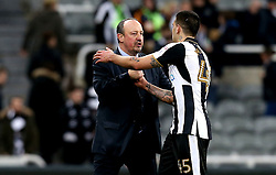 Newcastle United manager Rafa Benitez congratulates Aleksandar Mitrovic of Newcastle United after the win over Aston Villa - Mandatory by-line: Robbie Stephenson/JMP - 20/02/2017 - FOOTBALL - St James Park - Newcastle upon Tyne, England - Newcastle United v Aston Villa - Sky Bet Championship