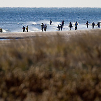 Fisherman lined up along the shore in Sea Bright New Jersey as they target migrating Striped Bass headed south for the winter.