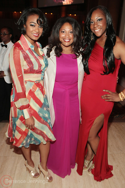 New York, NY-April 18: (L-R) Actress Tatiana Ali, Honoree Karla Ballard, Chief of Strategic Development, One Economy and Dominique Sharpton, Director Membership Initative, NAN attend Rev. Al Sharpton's National Action Network's Keeper of the Dream Awards held at Cipriani's Wall Street on April 18, 2012 in New York City. (Photo by Terrence Jennings)