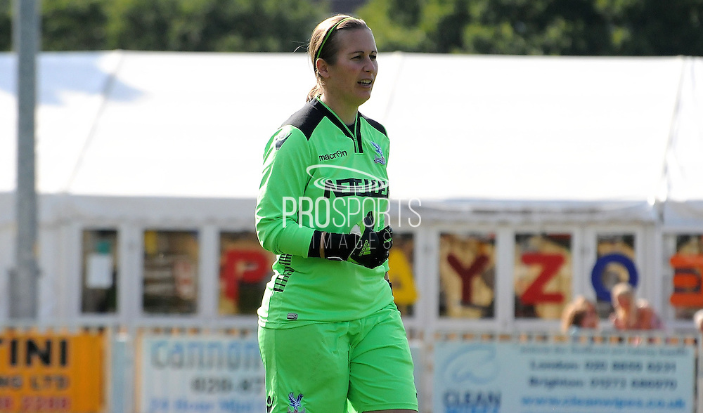 Sam Saint in action for her 21st season with Palace during the FA Women's Premier League match between Crystal Palace LFC and Milton Keynes Dons LFC at the Crystal Palace National Sports Centre, Croydon, United Kingdom on 6 September 2015. Photo by Michael Hulf.