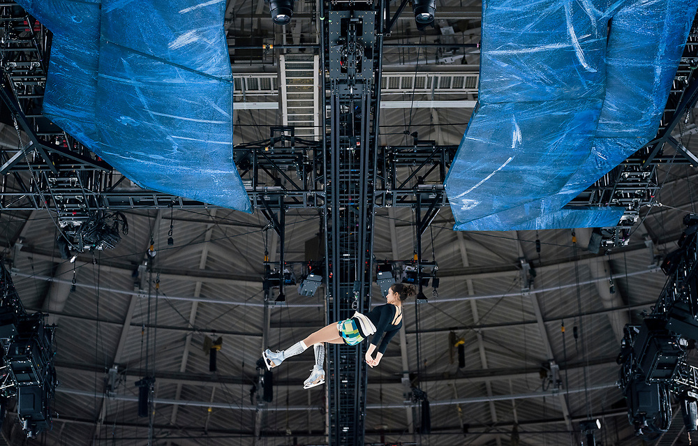 "Danica Gagnon-Plamondon practices during rehearsal for ""Cirque du Soleil: CRYSTAL"" at the Alliant Energy Center in Madison, WI on Wednesday, May 1, 2019."
