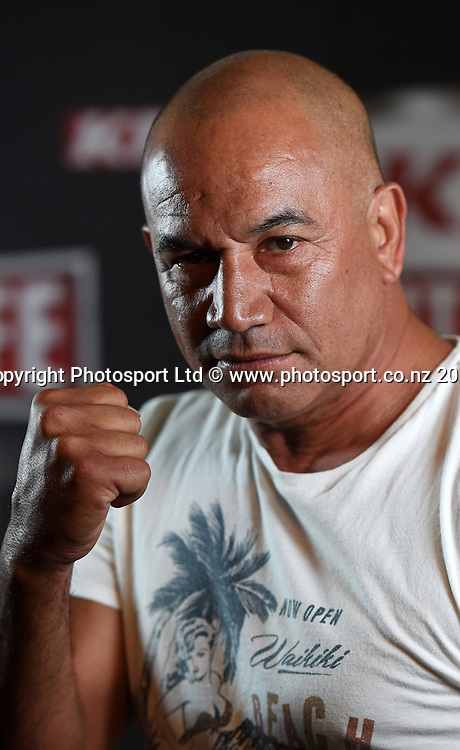 Actor Temuera Morrison poses for a picture during a press conference for the KFC Fight For Life by Duco Events. Auckland, New Zealand. Wednesday 3 December 2014. Photo: Andrew Cornaga/www.photosport.co.nz.