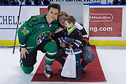KELOWNA, CANADA - MARCH 17:  Second Star of the Game Leif Mattson #28 of the Kelowna Rockets at the Kelowna Rockets game on March 17, 2018 at Prospera Place in Kelowna, British Columbia, Canada.  (Photo By Cindy Rogers/Nyasa Photography,  *** Local Caption ***