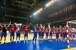 Players of Serbia celebrate after the handball match between Serbia and Croatia in 2nd Semifinal at 10th EHF European Handball Championship Serbia 2012, on January 27, 2012 in Beogradska Arena, Belgrade, Serbia. Serbia defeated Croatia 26-22. (Photo By Vid Ponikvar / Sportida.com)