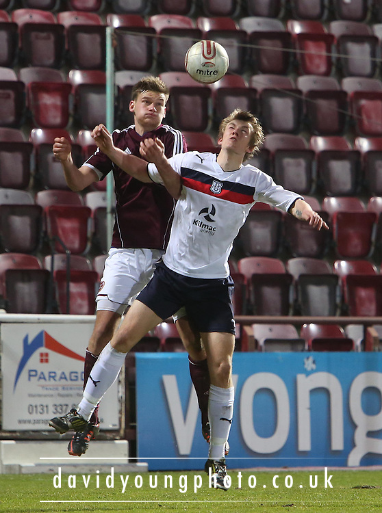 Hearts Denis Prychynenko and Dundee's Kevin Buchan - Hearts v Dundee - Scottish Premier League Under 20s.. - © David Young - www.davidyoungphoto.co.uk - email: davidyoungphoto@gmail.com